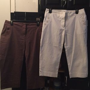 2 pair Relativity Capris Size 10P Brown White